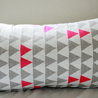 """Mountains of Montana - neon pink and grey triangle pattern organic pillow, hand printed, 14"""" x 24"""""""