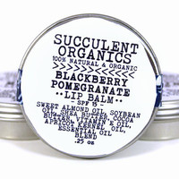 blackberry pomegranate lip balm - vegan - 100% organic & natural - moisturizing - SPF 15 - essential oils - unisex