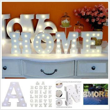 6'' White Wooden Letter LED Marquee Sign Alphabet Light Indoor Wall Decoration Light Up Night Light