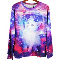 Colorful Universe Galaxy Space Kitty Graphic Print Crew Neck Sweatshirt