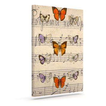 "Suzanne Carter ""Butterfly Opera"" Music Tan Outdoor Canvas Wall Art"