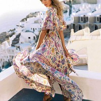 maxi dress Women Sexy V-neck Floral Print summer dress elastic waist tassel Back Tie Bohemian women dresses