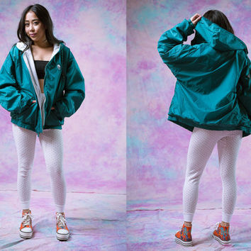 vtg 90's michigan state park jacket, green teal windbreaker, health goth, 1990s vintage activewear athletic, tumblr, vaporwave, aesthetic