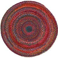 Extra Weave USA Carnivale Braided Rug, 3-Feet Round