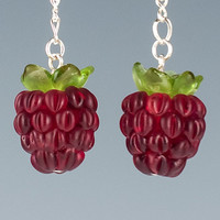 Raspberry Earrings w realistic glass lampwork beads and calyx on silver or gold ear wires. Fruit jewelry for berry lovers