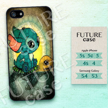 Disney iPhone 5 Case Stitch and Turtle Disney iPhone Case iPhone 5c case Disney iphone 5s case Hard or Soft Case-ST01