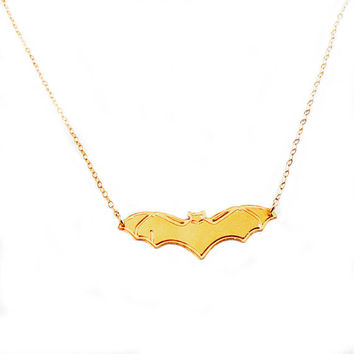 Gold Bat Necklace Gold Necklace Bat Icon Jewelry Design Logo Necklace Beep Jewelry Silver Plated Small Pendant Miniature Superhero Animal