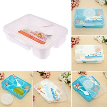 Fashion High Capacity Dinnerware Sets PP Bento Lunch Food Container Handle Singel Layer Lunch TableWare High Quality