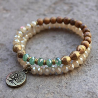 African Trade beads, wood and crystal mala bracelet set