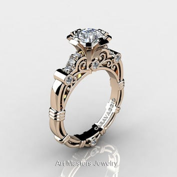 Art Masters Caravaggio 14K Rose Gold 1.0 Ct White Sapphire Diamond Engagement Ring R623-14KRGDWS