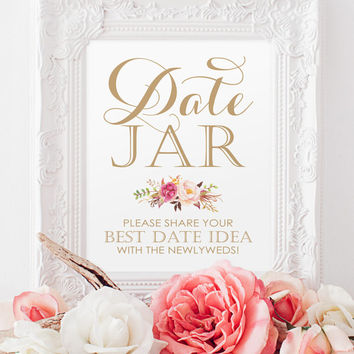 Wedding Sign - Date Jar Sign - 8 x 10 sign - DIY Printable sign in Vintage antique gold - PDF and JPG files - Instant Download