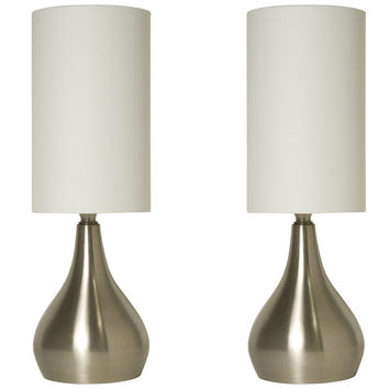 Set of 2 Modern Touch Table Lamps 18 Inches Tall with 3-way Dimmer Switch Feature