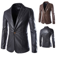 One Button Slim Fit Leather Blazer