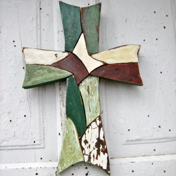 Emerald Green Wooden Mosaic Cross Reclaimed Wood Folk Art