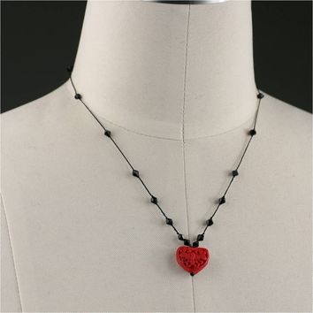 Red heart silk thread knotted collar necklace Bridesmaid gifts Free US Shipping handmade Anni designs