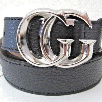 Gotopfashion Mens Gucci Dress Logo GG Pebbeled Grained Leather Brown Belt 95/38 362734