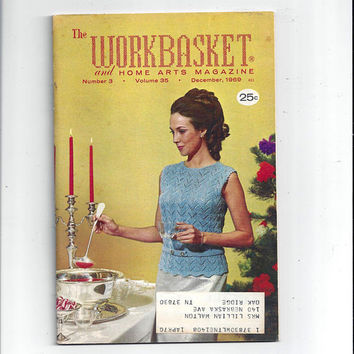 WorkBasket & Home Arts Magazine, December 1969, Home Knitting, Crochet, Sewing, Needle Work Book, Tatting, Recipes, Quilting, Vintage Crafts