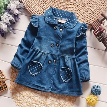 BibiCola Spring autumn baby girls jacket kid baby girls coat jacket outwear denim jeans infant jackets toddler cardigan coat