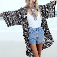Blue and White Elephant Print Kimono