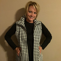 Black and Cream Houndstooth Vest