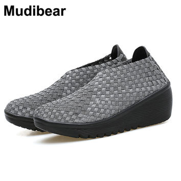 Mudibear  Woven Wedges for women Summber Breathable new women's soft shoes Ladies Black women platform sandals lady Woven shoes