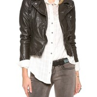 Vegan Leather Peplum Jacket