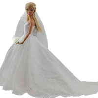 Elegant White Princess Evening Party Clothes Wears Long Dress Outfit Set for Barbie  Doll with Veil Hot Selling