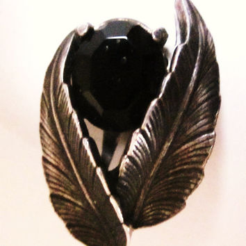 Vintage-Single-Signed Schiaparelli Black Leaf Earring-Faceted Jet Black Glass-Silver Tone-Clip On-Single Signed Earring