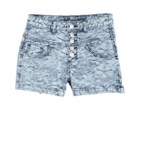 Skylar High-Rise Shorts in Floral Jacquard - Medium Blue