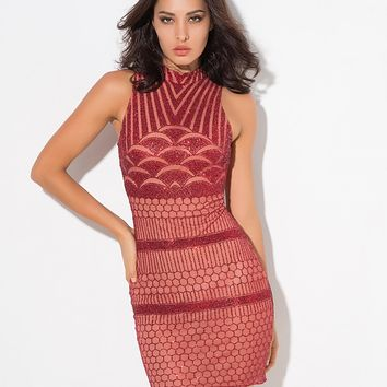 Scallop Sequin Dress Red