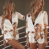 2015 Women's white flower print v-neck sexy jumpsuit with button lady women summer playsuit overalls rompers QAF175 = 5617219457