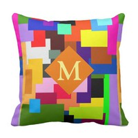 Colorful Patchwork Layers Modern Abstract Monogram Throw Pillow