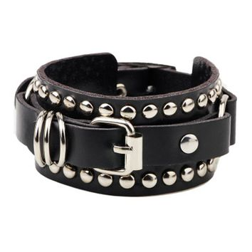 2018 New Fashion Casual gothic Punk Style rivet buckle belt PU Leather Bracelets Bangles for Women. Charm Wristband wrap bangle