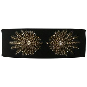 Alexander McQueen Crystal Embellished Black Velvet Wide Waist Snap Belt
