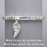 "Womens Silver Bracelet, Peace - Angel Wings Charm, ""May Peace be within you..."" Size: 3 1/6"" High / 1"" Long, Peace Sign"
