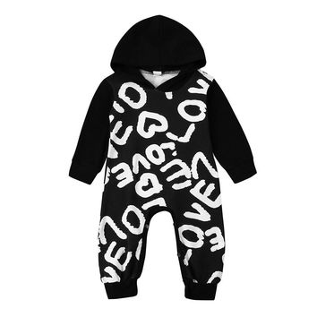 Newborn Baby romper Autumn printed Toddler Baby Boys Girls Letter Hoodie Romper Jumpsuit Outfits Clothes drop ship