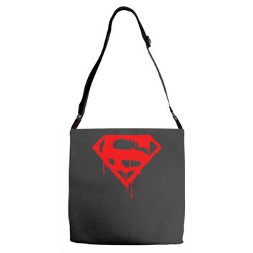 dripping blood superman Adjustable Strap Totes
