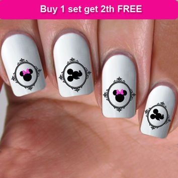 buy 1 get 1 free, 60 NAIL DECALS, cameo minnie pink bow, Nail Art,  Water Slide Decals Nail,Nail Art design, Nail Transfers, DS13
