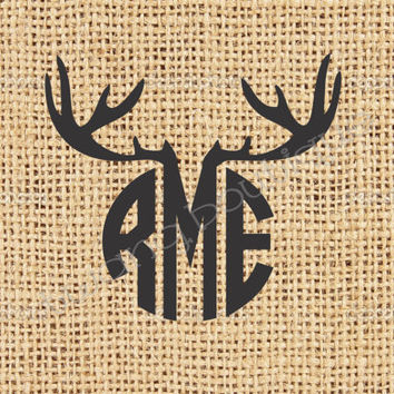 Deer Antler Monogram Vinyl Sticker ~ Decal ~ Hunting