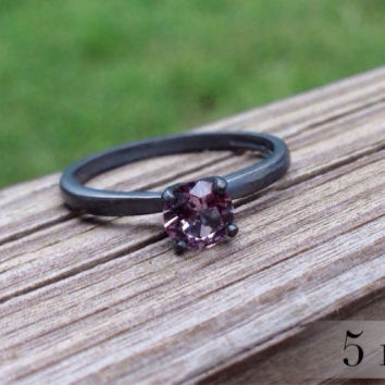 Alexandrite Color-Change Ring, Blackened Silver Ring, June Birthstone, Engagement Ring, Promise Ring, Wedding Ring, Free Shipping