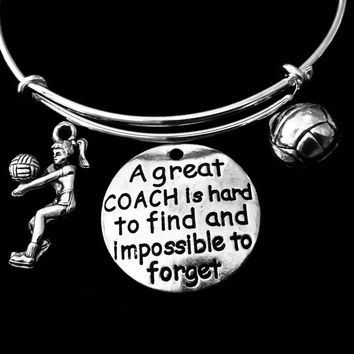 Great Volleyball Coach Jewelry Adjustable Bracelet Silver Expandable Bangle Sports Team One Size Fits All Gift