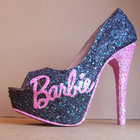 Black and Pink Barbie Glittered High Heels by TattooedMary on Etsy