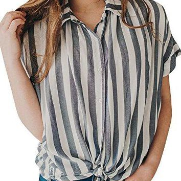 Dellytop Women Striped Button Down V Neck Loose Fit Shirts Knot Tie Ruffle Sleeve Tops
