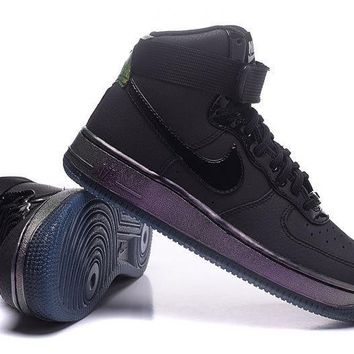 LMFON Nike Air Force 1 Rainbow Black For Women Men Running Sport Casual Shoes Sneakers