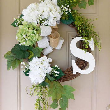 White Hydrangeas Grapevine Wreath with Burlap with Monogram. Year Round Wreath. Spring Wreath. Summer Wreath. Monogram Wreath. Door Wreath.