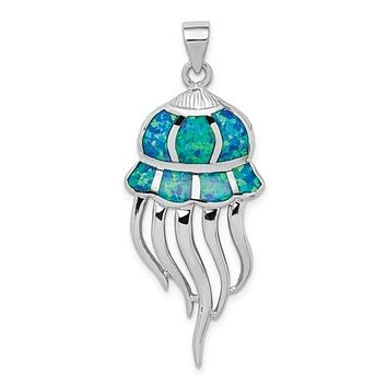 Sterling Silver Blue Opal Jellyfish Pendant