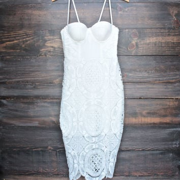 Lioness bustier lace dress in white