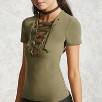 Lace-Up Knit Top