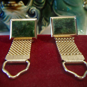 Vintage Swank Jade/ Agate  Green Stone Gold Tone French  Mesh Wrap Around Cufflinks  Men's Jewelry Formal Wear