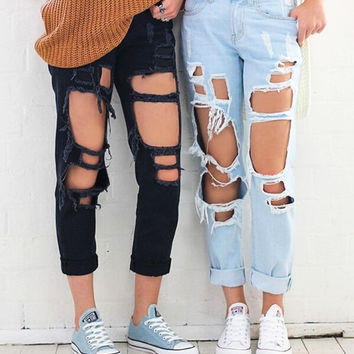 Stylish Rip Hole High Waist Denim Jeans (6-color)
